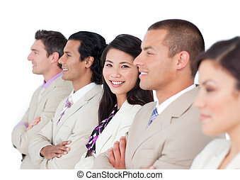 Attractive business team standing in an office