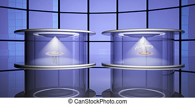 Teleportation capsules, 3d - Teleportation capsules with...
