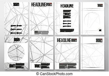 Set of business templates for brochure, flyer or booklet. Molecular structure design, scientific vector background