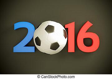 nuevo, año, y, futbol, Pelota,
