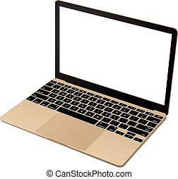 Top view of modern gold laptop - Top view of modern laptop...