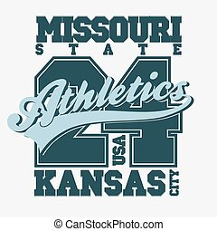 Sport T-shirt design Kansas City Athletics Typography...