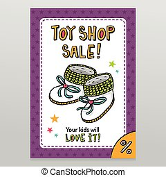 Toy shop vector sale flyer design with baby booties - Toy...