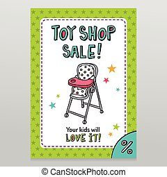 Toy shop vector sale flyer design with high baby feeding...
