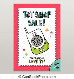 Toy shop vector sale flyer design with baby monitor - Toy...