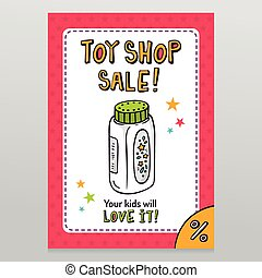 Toy shop vector sale flyer design with baby powder bottle -...