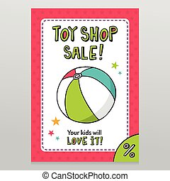 Toy shop vector sale flyer design with toy ball - Toy shop...