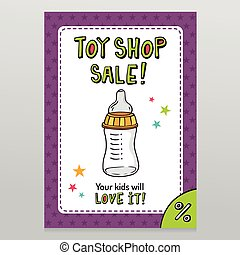Toy shop vector sale flyer design with feeding bottle - Toy...