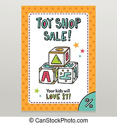 Toy shop vector sale flyer design with toy blocks for...
