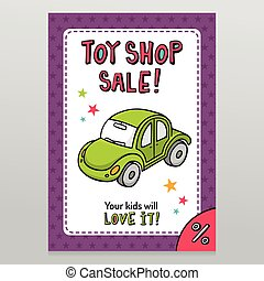 Toy shop vector sale flyer design with green toy car - Toy...