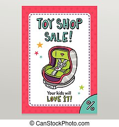 Toy shop vector sale flyer design with baby car seat - Toy...