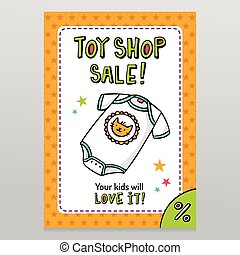 Toy shop vector sale flyer design with cute baby bodysuit -...