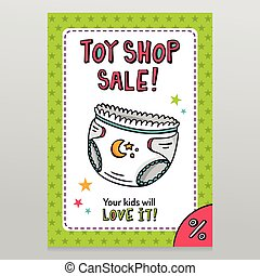 Toy shop vector sale flyer design with baby diaper - Toy...