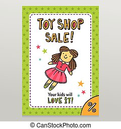 Toy shop vector sale flyer design with cute doll in pink...