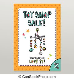 Toy shop vector sale flyer design with baby crib mobile -...