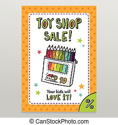 Toy shop vector sale flyer design with box of colored...