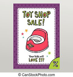 Toy shop vector sale flyer design with pink baby potty - Toy...