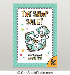Toy shop vector sale flyer design with toy puzzle for kids -...