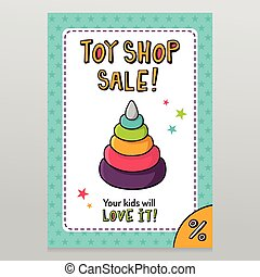 Toy shop vector sale flyer design with toy pyramid with...