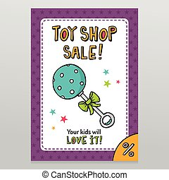 Toy shop vector sale flyer design with blue dotted rattle -...