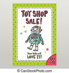 Toy shop vector sale flyer design with happy vintage toy...