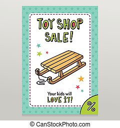 Toy shop vector sale flyer design with kid's sleigh - Toy...
