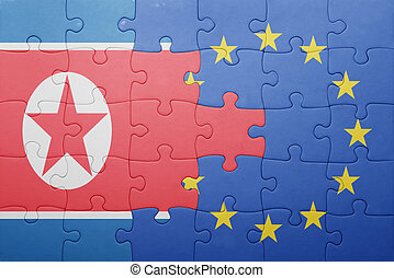 puzzle with the national flag of north korea and european...