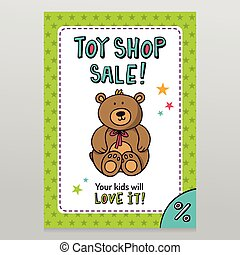 Toy shop vector sale flyer design with Teddy bear - Toy shop...