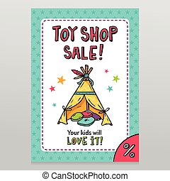 Toy shop vector sale flyer design with Indian wigwam for...