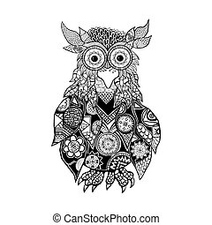Owl A wise and creative bird Zentangl Black color