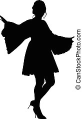 beautiful model girl in dress - silhouette vector...
