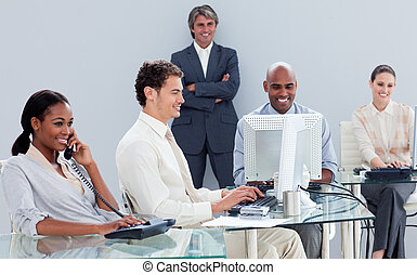 Presentation of a business team working hard  in the office