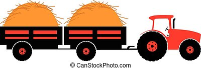 Tractor with twoo trailer silhouette color vector...