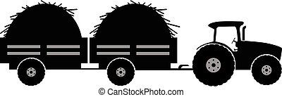 Tractor with twoo trailer silhouette vector illustration...