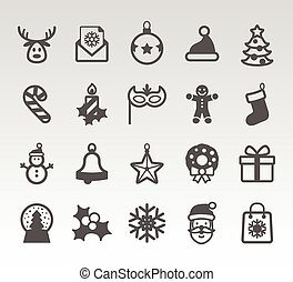 Christmas icons set. Holiday objects collection.