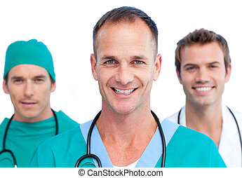 Blissful medical team standing against a white background
