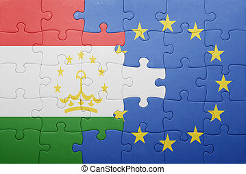 puzzle with the national flag of tajikistan and european...