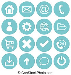 Basic web icons - Basic web icon set in round flat style...