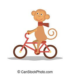 cute monkey with scarf on transport. Vector