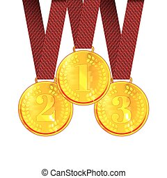 Gold the First, Second and Third place Award Medals with Ribbons