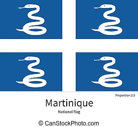National flag of Martinique with correct proportions,...