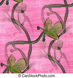 pink green grass flower pattern texture watercolor handmade...