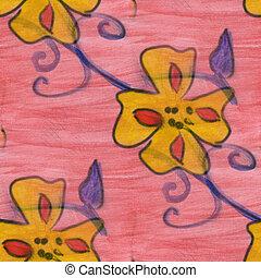 yellow pink grass flower pattern texture watercolor handmade...