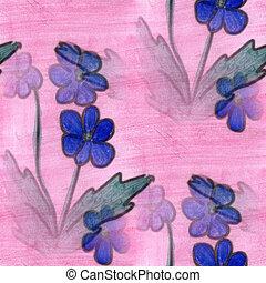 blue pink grass flower pattern texture watercolor handmade...
