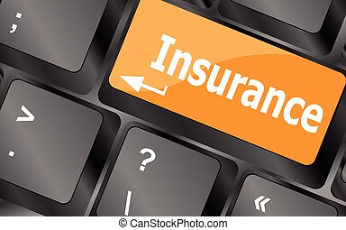 Insurance key in place of enter key, vector illustration