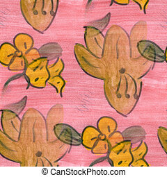 yellow pink flower pattern texture watercolor handmade...