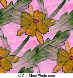 flower pattern texture watercolor yellow pink handmade...