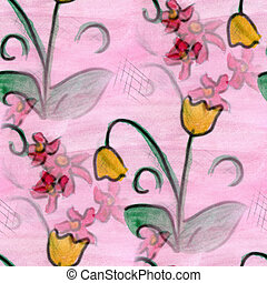 flower pattern texture watercolor handmade pink yellow...