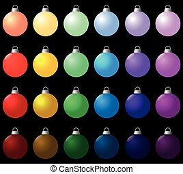 Colorful Christmas Balls Set Icon - Colorful christmas balls...