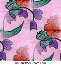 flower pattern texture watercolor handmade red pink seamless...